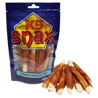 K9 Snax Chicken & Fish Skin Twist Dog Treat - 100g