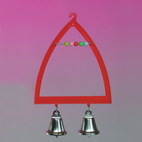 Triangle Bird Swing with 2 Bells & Beads
