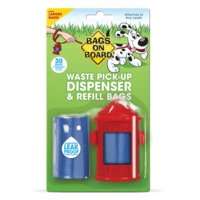Bags On Board Waste Pick-Up Dispenser & Refill Bags - Pack 30 (Red Fire Hydrant)