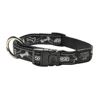 Rogz Beltz Fancy Dress Dog Collar - Black Bones - Small Jellybean (11mm x 20-31cm)
