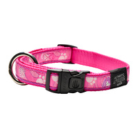 Rogz Beltz Fancy Dress Dog Collar - Pink Paws - Large Beach Bum (20mm x 34-56cm)