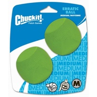 ChuckIt Erratic Dog Ball - Medium (6cm) - 2 Pack