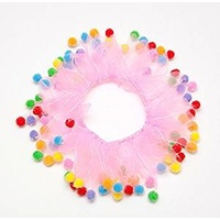 Party Collar Birthday Pink with Pom Poms - Medium (30cm)