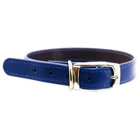 Beau Pets Leather Deluxe Dog Collar - 60cm - Blue
