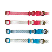 Beau Pets Puppy Spot Collar Adjustable - 30cm - White on Pink