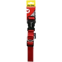 Pet One Reflective Adjustable Nylon Dog Collar - 24-37cm x 15mm - Red