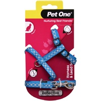 Pet One Reflective Cat Harness & Lead Set - Blue