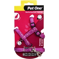 Pet One Reflective Cat Harness & Lead Set - Purple