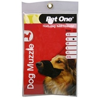 Pet One Dog Nylon Non-Adjustable Muzzle - Small - Black
