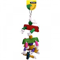 Avi One Parrot Toy with Coloured Wood, Rope & Cyclone Bell - 43cm - Large