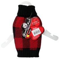 Pet One Komfyknit Dog Check Jumper - 55cm - Black/Red