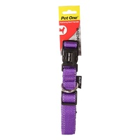 Pet One Reflective Adjustable Nylon Dog Collar - 40-65cm x 25mm - Purple