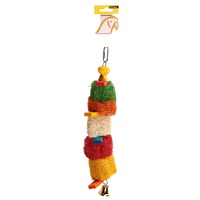 Avi One Loofah Discs With Planks Parrot Toy - 11cm x 30cm