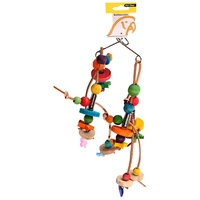 Avi One Parrot Toy Wooden Beads with Leather - 20x31cm