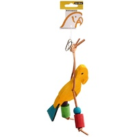 Avi One Wooden Bird with Leather Parrot Toy - 18cm x 22cm