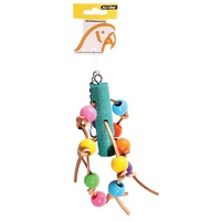 Avi One Leather with Acrylic Beads Parrot Toy - 11cm x 30cm