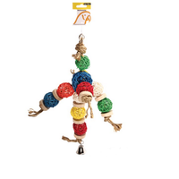 Avi One Parrot Toy Wicker Balls with Rings - 26x43cm