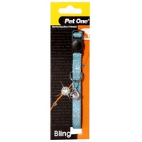 Pet One Breakaway Clip Bling Sparkle Cat Collar - 30cm x 10mm - Blue