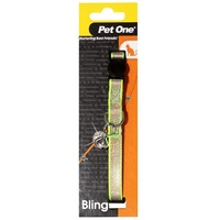 Pet One Breakaway Clip Bling Sparkle Cat Collar - 30cm x 10mm - Green/Gold