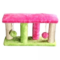 Pet One Cat Scratching Tree 4 Post With 2 Balls - 40x11x22cm (Fuschia Green)