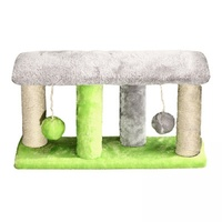 Pet One Cat Scratching Tree 4 post with 2 Balls - 40x11x22cm (Grey Green)