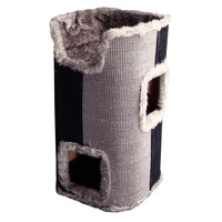 Pet One Cat Scratching Tree 2 Cubby With Bed - 40cm x 40cm x 75cm (grey)