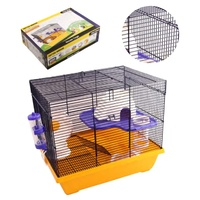 Pet One Critter Mansion Mouse Wire Cage - 42L X 30W X 36.5cm H - White/Yellow