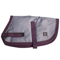 Pet One NightWalker Dog Coat - 80cm - Grey/Burgundy