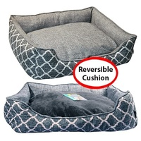 Pet One Rectangular Dog Bed - Imperial Grey Merle - Medium (65x55x17.5cm)