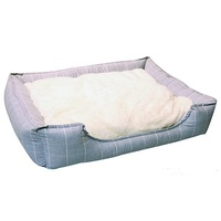Pet One Rectangular Dog Bed - Squares Cloud Grey - Large (75x65x18.5cm)