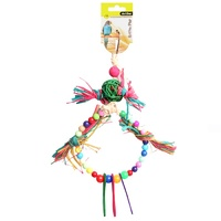 Avi One Bird Toy Rattan Ball With Raffia Wooden And Plastic Beads - 37cm