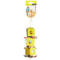 Avi One Bird Toy Boxes With Paper With Wooden Beads - 37cm