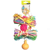 Avi One Bird Toy Rattan Ball With Raffia And Gourd - 25cm