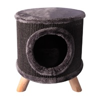 Pet One Cat Scratching Tree Hide with Feet - 36cm Diameter x 41cm H (Black)