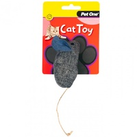Pet One Grey & Blue Mouse Cat Toy - 14.5cm