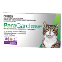 ParaGard Allwormer for Cats 5kg Bodyweight - 4 Tablets