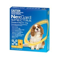 NexGard SPECTRA for Dogs 3.6-7.5 kg - 3 Pack - Yellow
