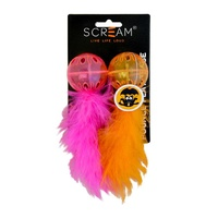 Scream Lattice Ball with Feather Cat Toy - 2 Pack - Orange & Pink