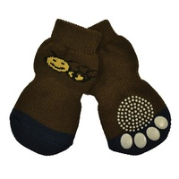 Non-Slip Dog Socks - Brown Bee - X-Large (4x11cm)