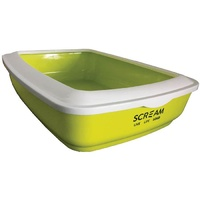 Scream Rectangle Cat Litter Tray (50x35x14cm) - Green