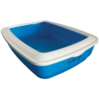 Scream Rectangle Cat Litter Tray (50x35x14cm) - Blue