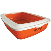 Scream Rectangle Cat Litter Tray (50x35x14cm) - Orange