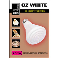 URS OZ White Ceramic Heat Globe - 250 Watt