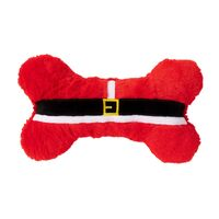 FuzzYard Furry Santa Bone Dog Toy - Red (30cm)