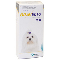 Bravecto for X-Small Dogs 2-4.5 kg - Yellow - 2 TABLETS (6 months)