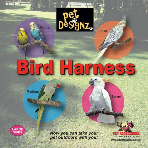 Bird Harness - Large (Cockatoo Size)(Bird Harness Large Colours:Black)